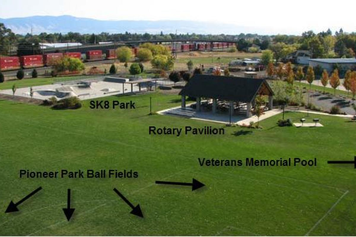 Aerial View - Pioneer SK8 and Rotary Pavilion